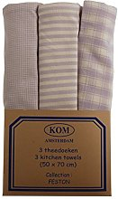 Campagne Table Linen Set of Three Tea Towels Pink