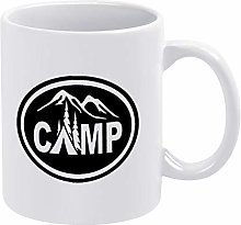 Camper Camp Tent Oval Ceramic Coffee Mug Cup