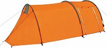 Camping Tent 4 Persons Grey and Orange - Grey -