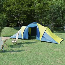 Camping Tent 6 Persons Blue and Yellow - Blue -