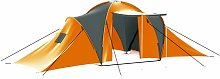Camping Tent 9 Persons Fabric Grey and Orange -