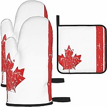 Canadian Flag Cooking Gloves Heat Resistant, Oven