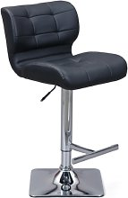 Candid Bar Stool In Black Faux Leather With Chrome