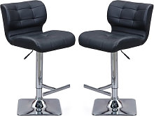 Candid Black Faux Leather Bar Stool In Pair With