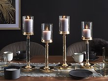 Candle Holder Gold Metal Pillar Glass Shade 48 cm Glamour Accent Piece Decoration Table Centrepiece