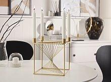 Candle Holder Golden Metal 23 cm Cubic Home