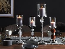 Candle Holder Silver Glass with Metal 58 cm