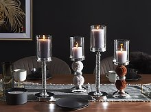 Candle Holder Silver Metal Pillar with Grey Faux