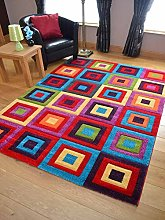 Candy Multicoloured Squares Design Rug. Available