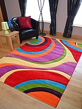 Candy Multicoloured Swirl Design Rug. Available in