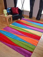 Candy Multicoloured Wave Design Rug. Available in