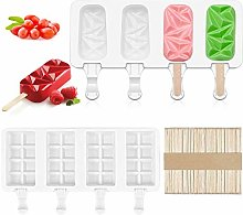 Canghai 2Pcs Ice Cream Mould, 4-Cavity Silicone