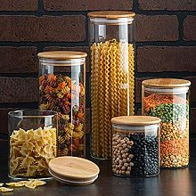 Canister Set of 5, Glass Kitchen Canisters with