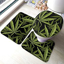 Cannabis Bathmat,Vintage Green Marijuana Leaf