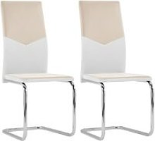 Cantilever Dining Chairs 2 pcs Cappuccino Faux