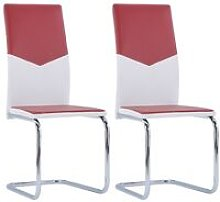 Cantilever Dining Chairs 2 pcs Wine Red Faux