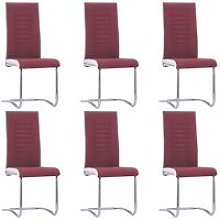 Cantilever Dining Chairs 6 pcs Wine Red Fabric