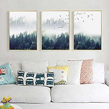 Canvas Painting Nordic Forest Landscape Misty Wall