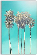 Canvas Painting Palm Tree Blue Wall Art Landscape