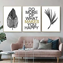 Canvas Painting print Nordic Leaves Quote Wall Art
