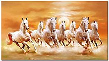 Canvas Painting Seven Running White Horse Animals