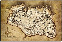 Canvas Painting Skyrim Map Game Poster Canvas