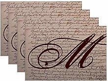 Canvas placemat French Writing Monogram,Table