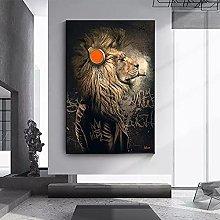Canvas prints Animal Painting Funny Headphone Lion