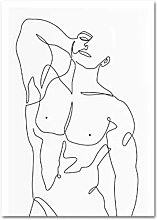 Canvas Wall Art Print Abstract Nude Male Line Art
