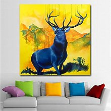 Canvas Wall Art Print Deer Painting Abstract