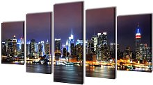 Canvas Wall Print Set Colourful New York Skyline