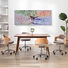 Canvas Wall Print Set Raining Tree Multicolour