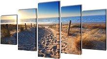 Canvas Wall Print Set Sand Beach 200 x 100 cm -