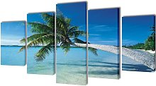 Canvas Wall Print Set Sand Beach with Palm Tree