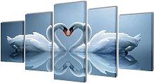Canvas Wall Print Set Swan 200 x 100 cm -