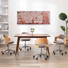 Canvas Wall Print Set Tree Yellow 150x60 cm