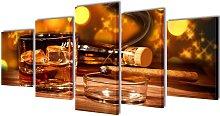 Canvas Wall Print Set Whiskey and Cigar 200 x 100
