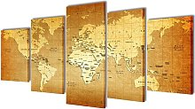 Canvas Wall Print Set World Map 200 x 100 cm -