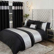 Capri Silver Black 66x72' Eyelet Curtains Ring