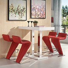 Caprice Bar Table In White Gloss And 4 Farello Red