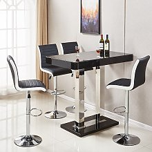 Caprice Glass Bar Table In Black Gloss With 4 Ritz
