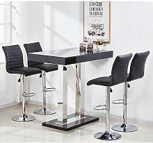 Caprice Glass Bar Table Set In Black Gloss 4