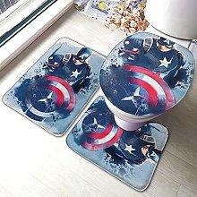 Captain Hero America Bathroom Rugs Set Non-Slip