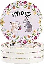 Car Coasters Happy Easter Watercolor Couple Bunny