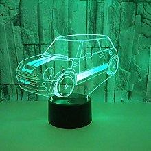 Car Led Night Desk Light, 7 Colors Changing 3D