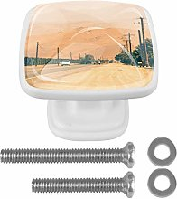 Car On The Road 4PCS Drawer Knobs Square Crystal