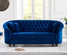 Cara Chesterfield Blue Plush Fabric Three-Seater