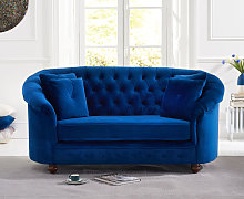Cara Chesterfield Blue Plush Fabric Two-Seater Sofa