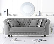 Cara Chesterfield Grey Linen Fabric Three-Seater