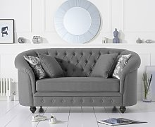 Cara Chesterfield Grey Linen Fabric Two-Seater Sofa